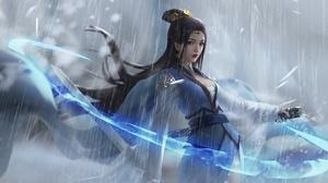 Girl Rain Asian Sword Woman Warrior Long Hair Black Hair 1920x1133 Wallpaper