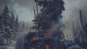 Digital Art Fantasy Art Alexey Egorov Skeleton Arrows Ice Frozen Lake Trees Snow Wolf 1045x1359 Wallpaper