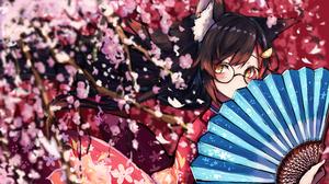 Anime Anime Girls Kimono Sakura Tree Hand Fan Glasses Red Eyes Ookami Mio Hololive Long Hair Brunett 7856x4392 Wallpaper