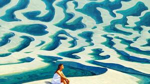 Artem Chebokha Artwork Women Sitting Alone Women Outdoors Looking Into The Distance Long Hair Barefo 1538x1538 wallpaper