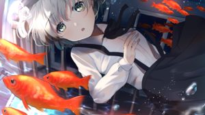 Hatoba Tsugu Goldfish Water Drops Short Hair School Uniform Brunette 1547x1096 Wallpaper
