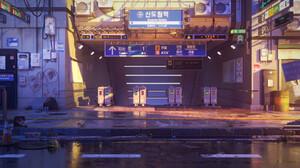 Artwork Digital Art Subway City Korean 1920x900 Wallpaper
