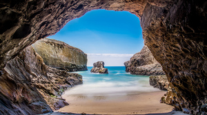 Beach Cave Coast Horizon Nature Ocean Rock 2048x1114 Wallpaper