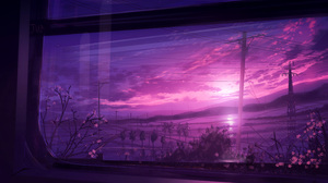Digital Painting Landscape Window Sunset Sky Clouds Power Lines Mountains Nature JW Artist HuashiJW 4208x3101 Wallpaper