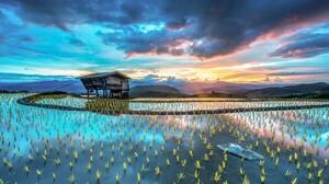 Landscape Rice Fields Rice Paddy Mountains Hut Sunset Rice Terrace 1920x1080 Wallpaper