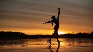 Sergey Kalabushkin Ice Skate Silhouette Women Women Outdoors 2500x1669 Wallpaper