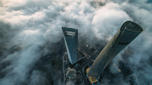 Landscape City Skyscraper Clouds China Shanghai Aerial View 2500x1874 Wallpaper