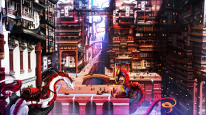 Building City Dragon Oriental 3048x1561 Wallpaper