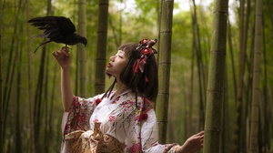 Asian Women Model Long Hair Brunette Crow Forest Trees Hair Ornament Traditional Clothing Depth Of F 2048x1363 Wallpaper