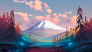 Byrotek Landscape Nature Fantasy Art Mountain View Colorful Trees Clouds Grass Flowers 1920x1339 Wallpaper