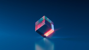 Crystal Blue Cube Digital Artwork Reflection Refraction 3840x2160 Wallpaper