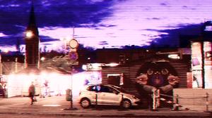 Budapest Night City Retro Wave Distortion 5120x1484 Wallpaper