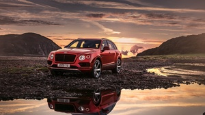 Bentley Bentley Bentayga Car Luxury Car Red Car Reflection Vehicle 4096x2304 Wallpaper