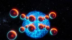 Pendulum Abstract 3D Abstract Space Sun Stars Balls Red Sun Blender Graphic Design 3D Graphics 1920x1080 Wallpaper