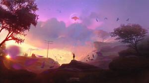 Girl Kite Landscape Nature 1920x1081 Wallpaper