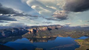 Canyon Cloud Lake Mountain 7344x4488 Wallpaper