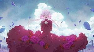 Red Dress Pink Hair Inori Yuzuriha Girl Flower 2000x1111 Wallpaper
