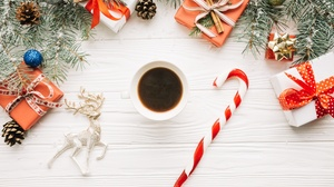 Candy Cane Christmas Coffee Gift Still Life 5760x3840 wallpaper