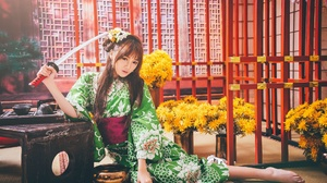 Asian Brunette Girl Kimono Long Hair Model Oriental Sword Woman Yellow Flower 2048x1365 Wallpaper