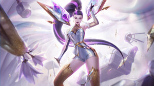 Bo Chen Drawing League Of Legends Women KaiSa League Of Legends Long Hair Ponytail Crystal Purple Ey 2000x1161 Wallpaper