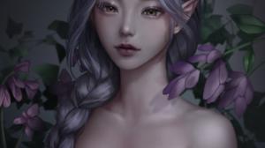 Kangagi97 Women Elf Girl Fantasy Girl Purple Hair Brown Eyes Elf Ears Dress Black Dress Artwork Fan  900x1298 wallpaper