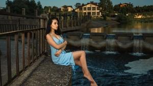 Model Women Blue Dress Hands Crossed Women Outdoors Dark Hair Brunette Tattoo Barefoot 2048x1365 Wallpaper