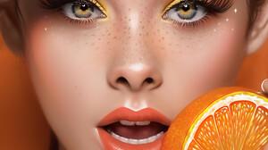 ArtStation Women Portrait Portrait Display Makeup Freckles Open Mouth Orange Fruit Looking At Viewer 3840x4608 wallpaper