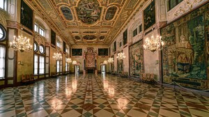 Architecture Chandeliers Frescoes Munich Palace Ballroom Fireplace Baroque 1920x1200 wallpaper