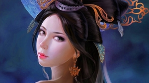 Fantasy Girl Moon Oriental Tattoo Woman 1920x1500 Wallpaper