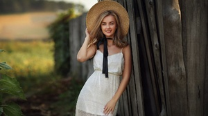 Woman Girl Depth Of Field White Dress Smile Blonde Hat 1920x1280 Wallpaper