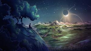 Christian Benavides Digital Art Fantasy Art Clouds Hills Grass Stars Night Mountains Eclipse Moon Me 3840x2160 Wallpaper