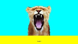 Big Cat Digital Art Artistic Colorful Simple Minimalist 2991x1910 wallpaper