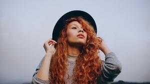 Women Redhead Curly Hair Hat Long Hair Sweater 1920x1280 Wallpaper