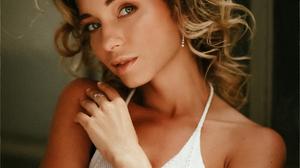 SHinD PH Women Blonde Wavy Hair Makeup White Clothing Looking At Viewer Portrait Frame 1229x1536 Wallpaper