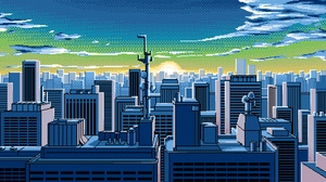 Pixel Art Artwork City Sunrise Skyline Cityscape Rooftops Antenna 1920x1080 Wallpaper