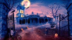 Bat Halloween Haunted House Holiday Jack O 039 Lantern Little Girl Moon Raven Scary 1920x1346 Wallpaper