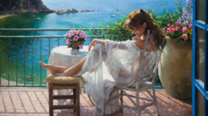 Painting Woman Sea 2560x1600 Wallpaper