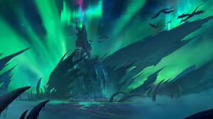 SY 37 Digital Art Landscape Fantasy Art Aurorae Castle Ice Dragon 1920x915 Wallpaper