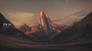 Castling Anime Science Fiction Space Shuttle 3507x1754 Wallpaper