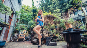 Asian Model Women Long Hair Brunette Depth Of Field Black High Heels Flower Dress Bushes Trees Plant 3840x2561 wallpaper