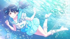 Anime Girls THE IDOLM STER Koito Fukumaru Tomari Dress Red Eyes Black Hair Underwater 2272x1280 wallpaper
