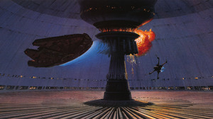Artwork Painting Science Fiction Space Star Wars Ship Ralph McQuarrie Millenium Falcon X Wing Death  4363x1962 Wallpaper