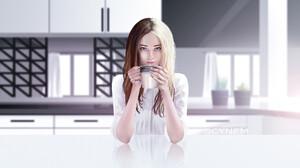 Cup Kitchen Woman 1920x1080 Wallpaper