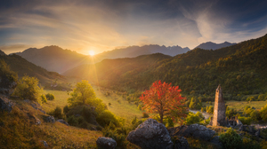 Sunset Nature Mountains Hills Trees Fall Sky Warm Warm Light Landscape Photography Outdoors Daniil K 2048x1365 Wallpaper