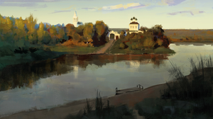 Digital Painting Landscape Church River Jordan Grimmer Fan Art 2295x1291 Wallpaper