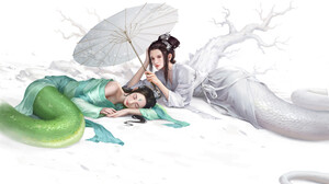 Artwork Women Asian Monster Girl Lamia Sleeping Two Women 1920x1366 Wallpaper