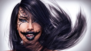 Girl Face Blue Eyes Lipstick 3000x1687 Wallpaper