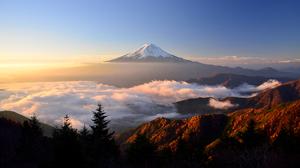 Japan Landscape Morning Mount Fuji Stratovolcano Sunrise Volcano 2048x1152 Wallpaper
