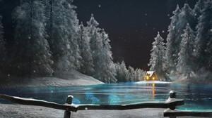 Artwork Lake Snow Winter Trees Forest Night Jellyfish 1920x803 wallpaper