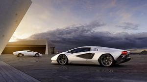 Lamborghini Countach Lamborghini Car Supercars White Cars Vehicle Italian Supercars Clouds Sunrise 3840x2160 Wallpaper